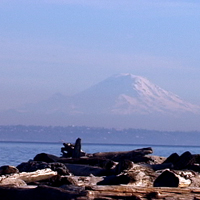 view of Mount Rainier across Puget Sound